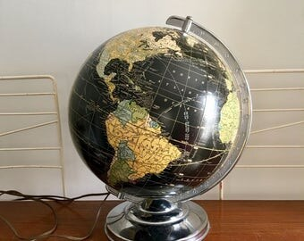 Vintage Cram's Black World Globe Lamp Chrome 1940s Light Up Illuminated Pull Chain