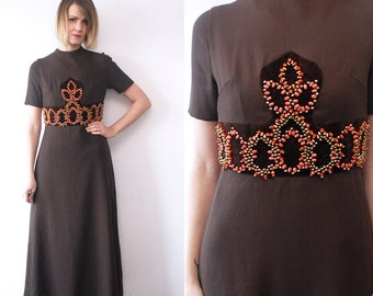 60s beaded dress. delicate wool dress. 60s maxi dress. brown dress - xs, small