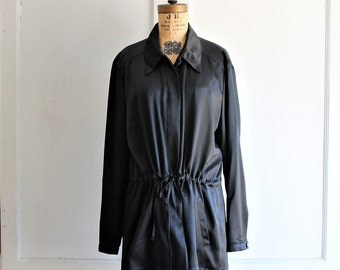 vintage 90s RODIER black blouse silky satin   made in France   large