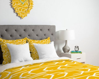 Yellow Geometric Duvet Cover // Twin, Queen, King Sizes // Bedding // Home Decor // Going Places Design // Modern Geometric // Bright