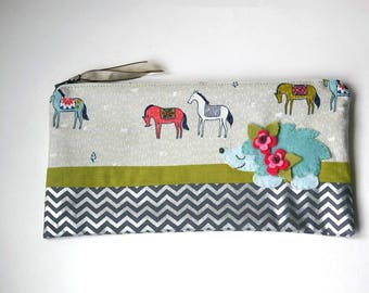 """Zipper Pouch, 9.75 x 5"""" in gray, olive, teal, white, pink and red horse and chevron Fabric with Handmade Felt Hedgehog, Pencil Case"""