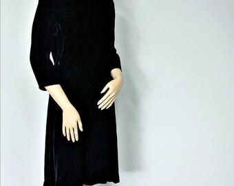 1950's Black Velvet Dress Cocktail Dress Hollywood Full Skirt Dress R & K Holiday Party Dress Tagged Size 14