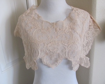 Beautiful Large Antique Tambour Lace Collar Shawl Early Century