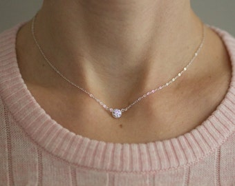small gold necklace, delicate diamond necklace, dainty necklace, sterling silver, choker necklace, cubic zirconia cz,bridesmaids gift, N130