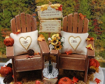 """Autumn Wedding Topper NO BASE Fits 6"""" Custom Made To Order Barn Wedding Sign Your Wording! Champagne For Two  Rustic Personalized!"""