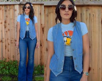 Vintage 70s DENIM Blue Jean VEST M