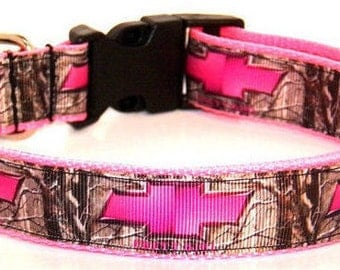 Pink Chevy camo dog collar