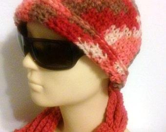 Ladies Hat / Beanie / Cap style Beanie / Autumn Reds Beanie / Crochet Beanie