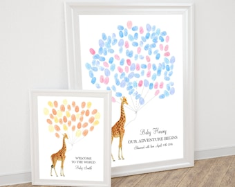 baby giraffe fingerprint guest book balloon - personalised printable file for baby shower or child's birthday, safari theme african animal,