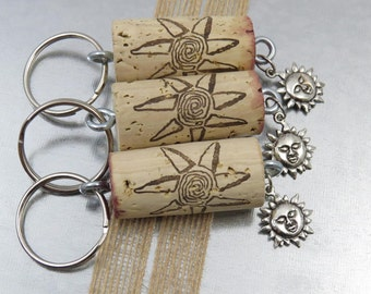 Sun Keychain in Gift Bag, Wine Cork matches Charm! Unique Stocking Stuffer or Gift