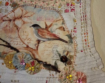 Peach Spring Textile Art - Wall hanging, collage, wall art