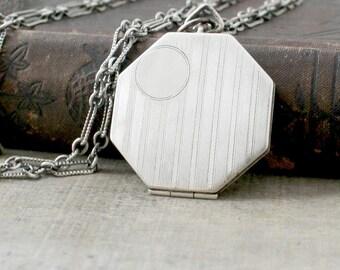 Large Silver Locket Necklace, Art Deco Locket, Antique Locket Sterling Silver Locket, Silver Photo Locket, Long Chain Locket, Push Present
