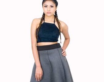 50% OFF Reversible Skirt Black or Grey Business Casual Flared Scuba Skirt Grey Skater Skirt Short Length Size L - XL Easy Travel Wardrobe