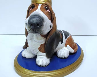 """Basset Hound Sculpture - """"I am the King!""""One-of-a-Kind Piece Handsculpted in Paper Clay"""