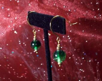 Green Peas Czech Bubble Glass Earrings