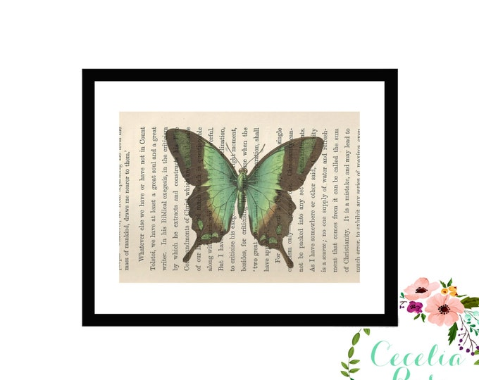 Butterfly Upcycled Framed Book Page Art Box Frame or Print