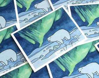 Polar Bear and Northern Lights Card Set, Christmas holiday stationery