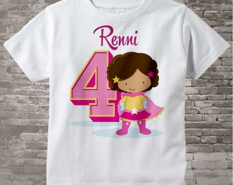 Girl's Personalized Superhero 4th Birthday Tee Shirt or Onesie with soft brown curls and light brown skin 05032017b