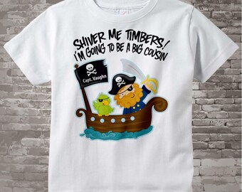 I'm Going To Be A Big Cousin Pirate Shirt Personalized Pirate Shirt or Onesie with Your Child's Name 06112012c