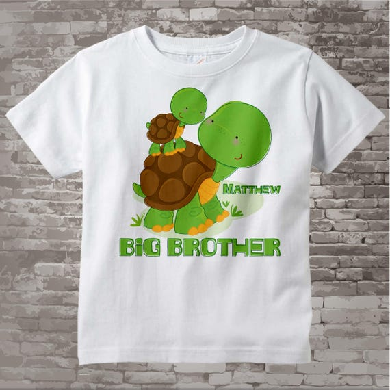 Personalized Big Brother Turtle Shirt, Big Brother Onesie, with Little Brother, Little Sister or Unknown Sex Baby (08072012b)
