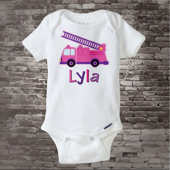 Girly Pink and Purple Fire Truck Shirt or Onesie Personalized with childs name daughter of a Fireman Shirt (03052012a)