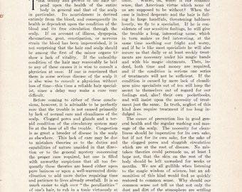 1908 Household Article: The Care of the Hair Shampoo Wash Massage Tonics Dandruff