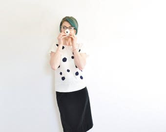 dalmation cow spotted sweater . 1980 black white polka dot top .small.medium