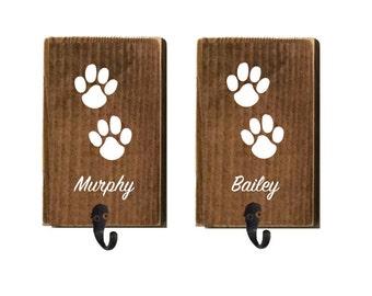 Leash holder, dog leash, leash hook, dog walker, dog lover, paw prints, dog accessories, personalized leash, hook for leash, wood leash hook