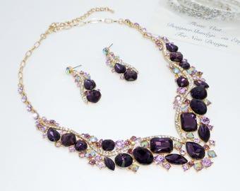Deep Purple Chunky Rhinestone Statement Bridal Bib Necklace and Earrings Set