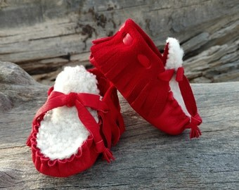 "Baby Moccasins By Desi, White Sheepskin Fur,  3 3/4"" Long, Red Deerskin Leather, Winter Warm Wear, Holiday Shoes, First Christmas Outfit"