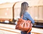 Leather bag brown, over shoulder bag crossover purse women messenger bag shoulder  crossbody leather - Elessa bag