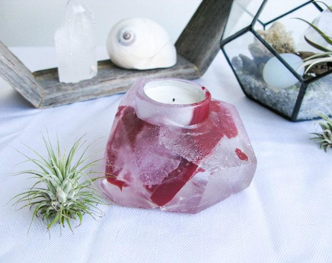 Votive Candle holder, Home decor, Candle Holder glass, Crystal geode decor, Bedroom decor, Tea light holder, Crystal Quartz Decor, Red pink