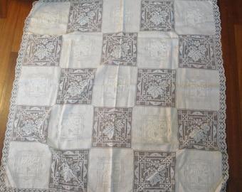 Vintage Table Cloth 6 Napkins Linen Filet Crochet Pink