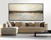 XXL Large Original Oil Painting Landscape Earth Tones Abstract Art Taupe Brown Huge Contemporary Modern Art Work Ready To Hang Sky Whitman