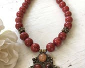 Red Coral with Carnelian & Metal Pendant Necklace - Beautiful Natural Elements and Metal