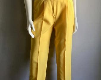 Vintage Women's 80's Yellow Pants, High Waisted, Straight Leg, Petite (M)
