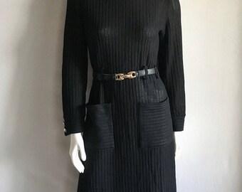 Vintage Women's 60's Mod Dress, Black Knit, Long Sleeve, Knee Length by Kimberly (M/L)