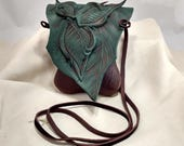 Small Leather Leaf Forest Purse / Chocolate Brown Hip Bag /  Woodland Elf Faerie Fairy Renaissance Festival Hippie