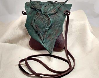 Small Leather Leaf Forest Purse / Chocolate Brown Hip Bag /  Woodland Elf Faerie Fairy Renaissance Festival Hippie
