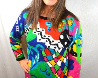 Vintage 80s Oversized Rainbow Sweater - Adrienne Vittadini