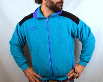 Vintage 80s Columbia Geometric teal Fleece Zip Up Jacket