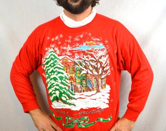 Vintage 90 Seasons Greetings Ultimate Christmas Holiday Red Sparkle Glitter Puffy Metallic Sweater - Holiday Time
