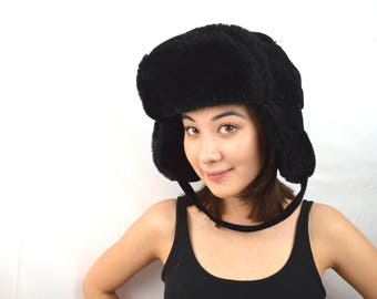 Vintage Faux Fur Bomber Russian Style Winter Black Hat with Flaps