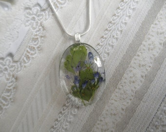Blue Veronica, Queen Anne's Lace, Maidenhair Ferns Small Glass Oval Pressed Flower Pendant-Gifts Under 30-Symbolizes Faithfulness,Peace