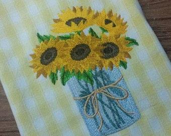 Sunflowers in Mason Jar on Yellow & White Cotton Kitchen Tea Towel