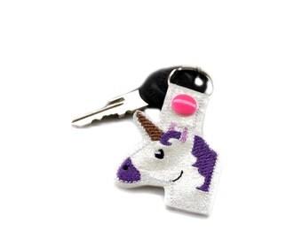 Unicorn Keychain | Unicorn Key Chain | Key Ring | Snaptab | Book Bag Accessory | Unicorn Party | Gifts for Her | Nerd Gift | Emoji