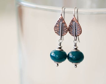 Emerald Green Leaf Earrings, hammered copper and sterling silver, lampwork dangle earring, mixed metal botanical artisan jewelry