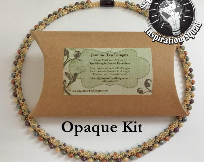 Autumn's Luster, Opaque, Beaded Kumihimo Necklace Kit and Tutorial, A Fully Beaded Kumihimo Necklace