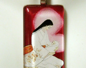 Japanese Madonna and child pendant with chain - GP01-072