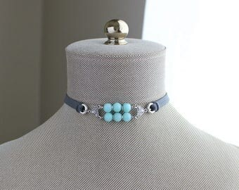 Amazonite Choker. You choose leather color.